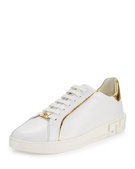 Versace Golden-Trim Leather Low-Top Sneaker, White