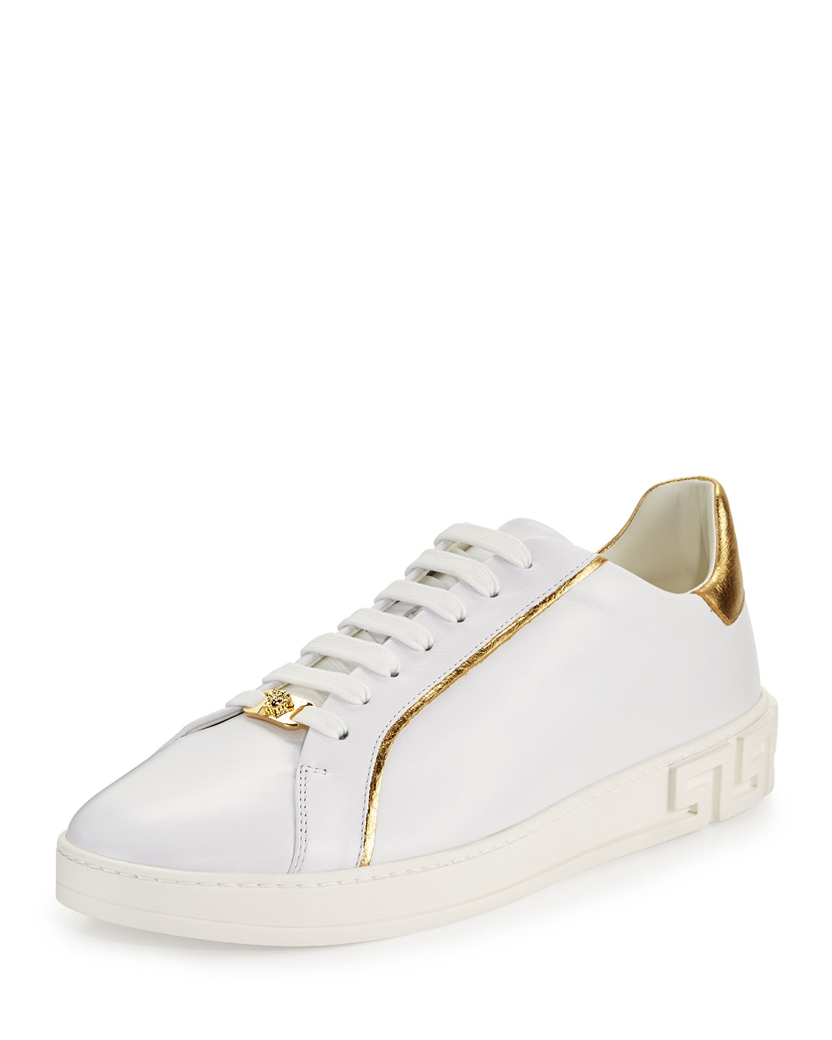 7856ed97332 Versace Men's Golden-Trim Leather Low-Top Sneakers, White | Neiman ...