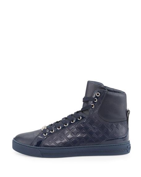 Greca-Embossed High-Top Sneaker, Navy