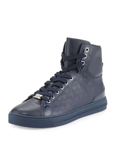 Versace Greca-Embossed High-Top Sneaker, Navy