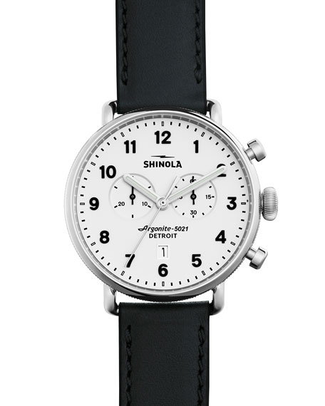 Shinola 43mm Canfield Chronograph Watch, Black/White