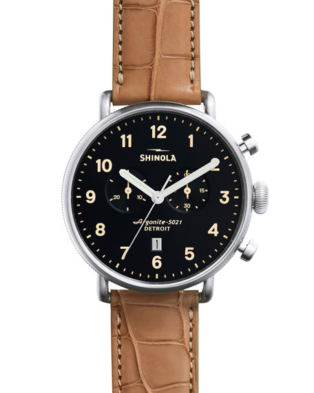 Shinola 43mm Canfield Chronograph Watch w/Alligator Strap,