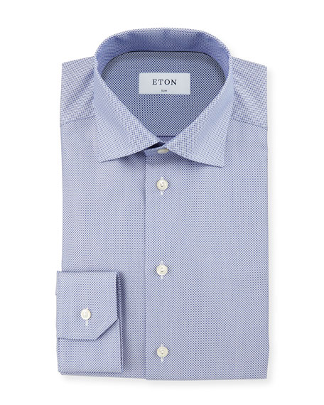 Eton Neat Circle Textured Slim-Fit Dress Shirt, Blue