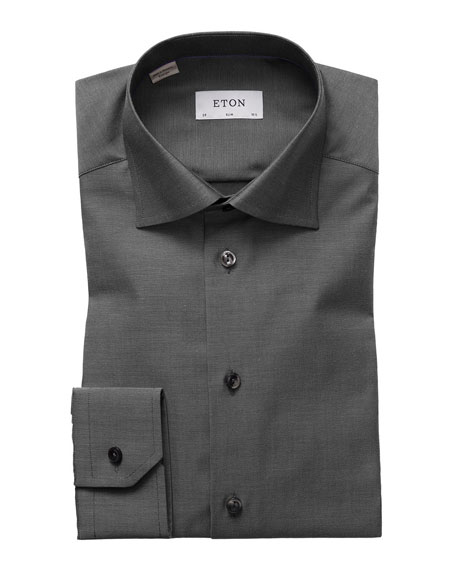Eton Slim-Fit Solid Dress Shirt, Charcoal