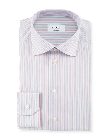 Eton Contemporary-Fit Striped Dress Shirt, Coral/Light Blue