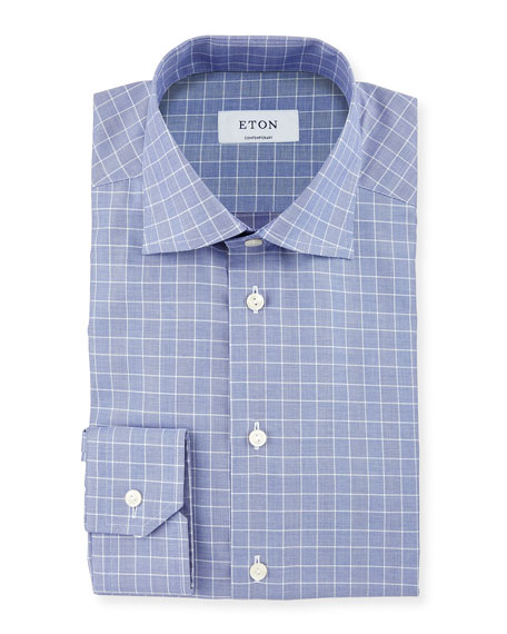 Eton Contemporary-Fit Glen-Plaid Check Dress Shirt, Navy/Blue