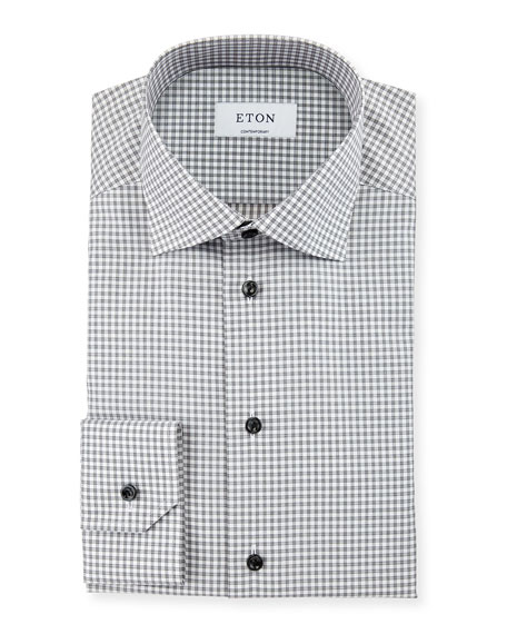 Eton Contemporary-Fit Check Dress Shirt, Gray/White