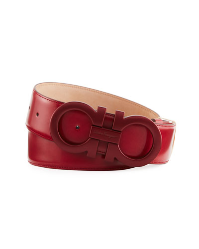 famous designer belts eje6  Tonal Double-Gancio Buckle Belt, Red