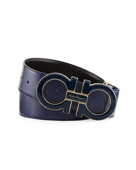 Salvatore Ferragamo Enamel Double-Gancio Buckle Belt, Blue Marine