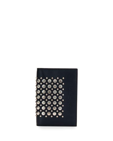 Salvatore Ferragamo Runway Studded Bi-Fold Card Case, Blue