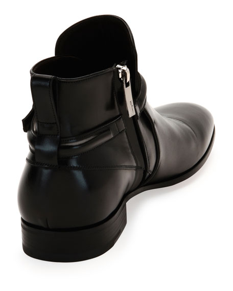 Salvatore Ferragamo Calfskin Buckle-Strap Ankle Boot, Black
