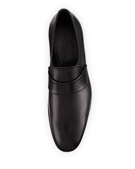 Semi-Perforated Calfskin Loafer, Black