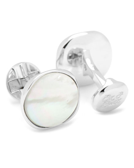 Mother of Pearl Round Cuff Links