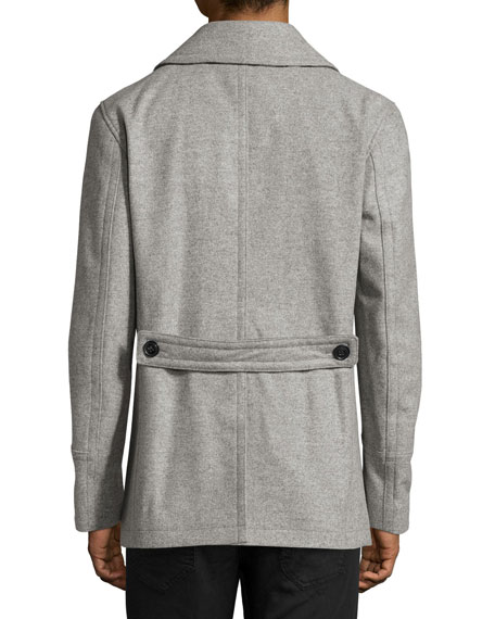 Wool-Cashmere Pea Coat, Gray