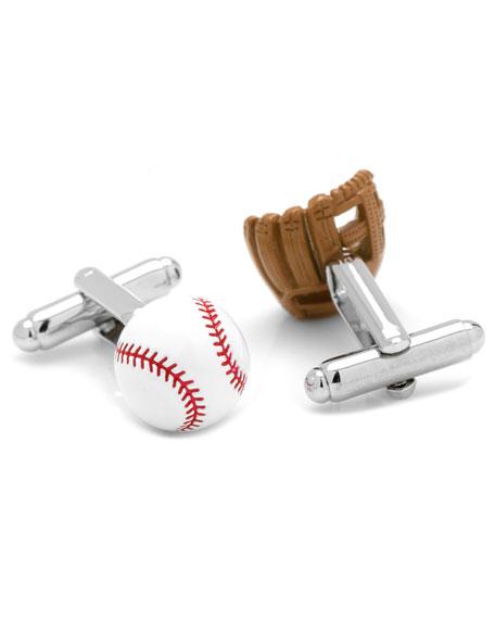3D Baseball & Glove Cuff Links