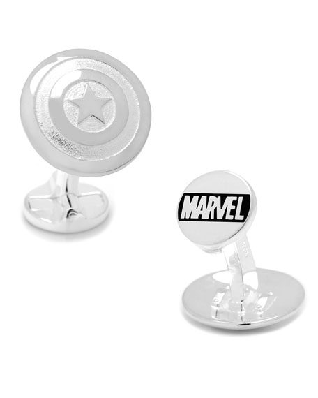 Captain America Sterling Silver Shield Cuff Links