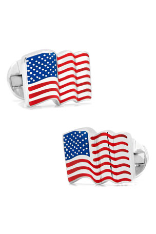 Cufflinks Inc. Waving American Flag Cuff Links
