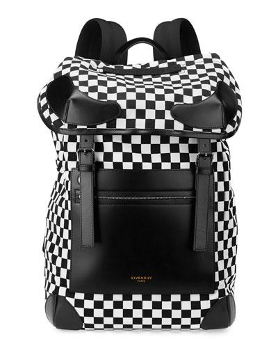 GIVENCHY Rider Checker-Print Backpack, Black/White