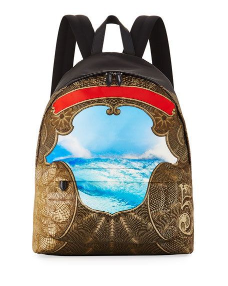 Givenchy Baroque Wave-Print Canvas Backpack, Multicolor