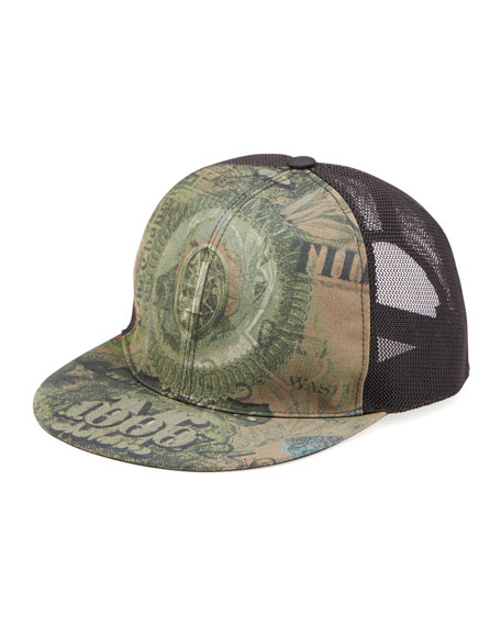 Givenchy Dollar-Print Flat-Billed Hat, Olive