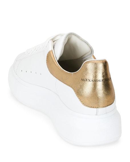 Men's Leather Low-Top Sneakers w/Golden Heel, White