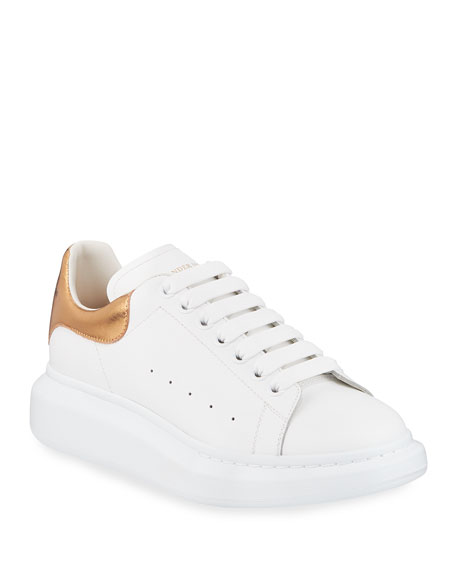 Alexander McQueen Leather Low-Top Sneaker w/Golden Heel, White