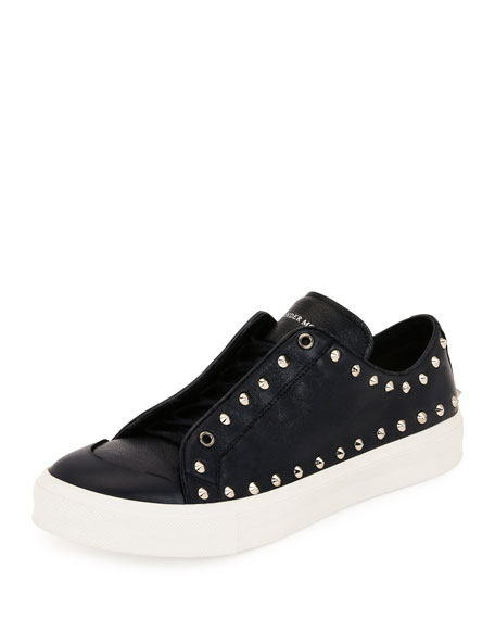 Alexander McQueen Studded Leather Low-Top Sneaker, Black