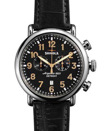 47mm Runwell Chronograph Men's Watch, Black