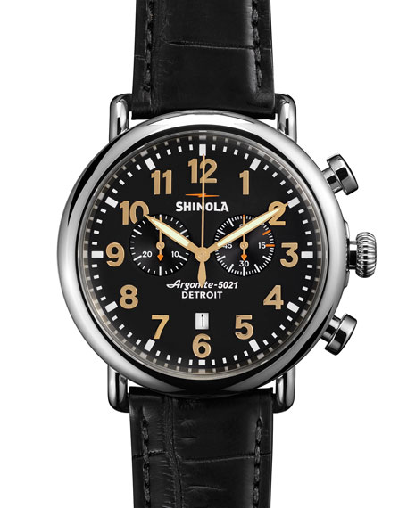Shinola Men's 47mm Runwell Chronograph Men's Watch, Black