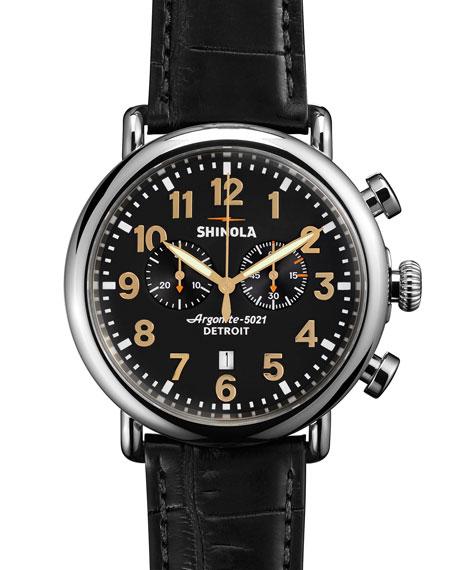 Men's 47mm Runwell Chronograph Watch, Black