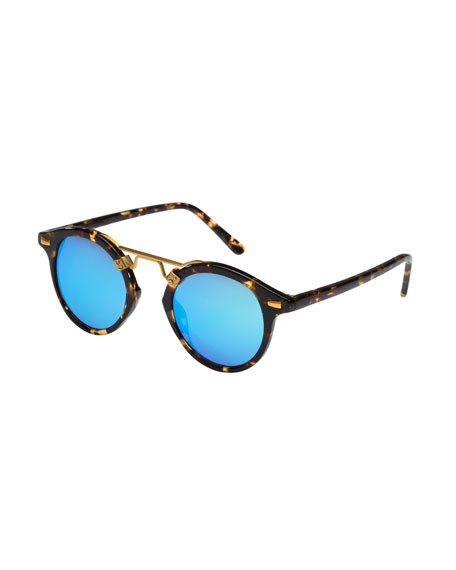KREWE St. Louis Round Mirrored Sunglasses, Bengal Blue