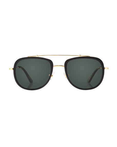 Breton 24K Gold-Plated Aviator Sunglasses, Black