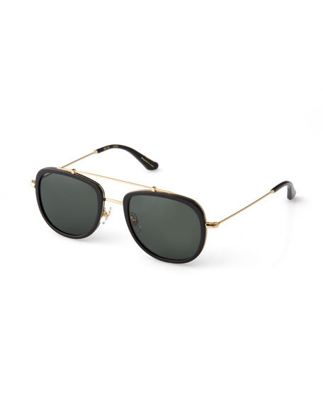KREWE Breton 24K Gold-Plated Aviator Sunglasses, Black