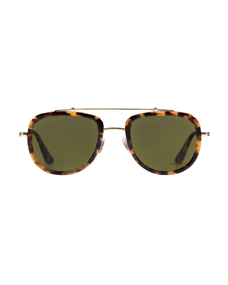 Breton Polarized Aviator Sunglasses, Blonde Tortoise