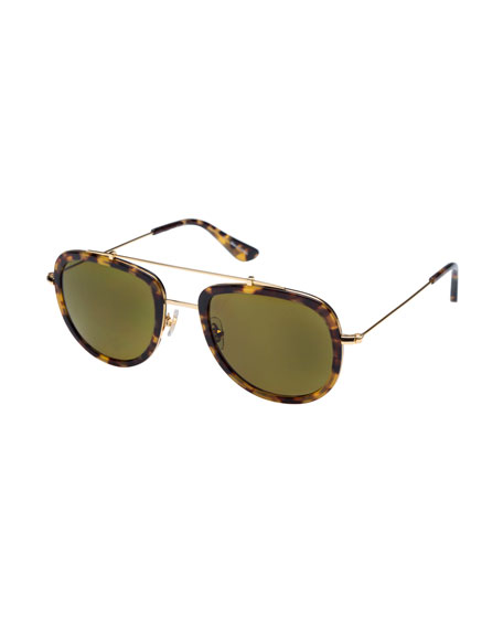 KREWE Breton Polarized Aviator Sunglasses, Blonde Tortoise
