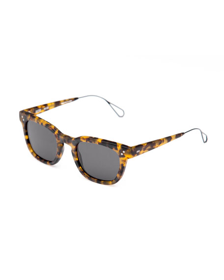 KREWE Avery Square Acetate Sunglasses, Matte Rex
