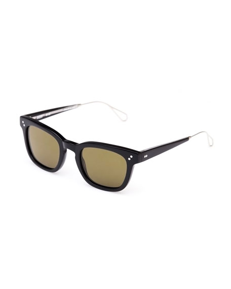 Avery Polarized Square Acetate Sunglasses, Black