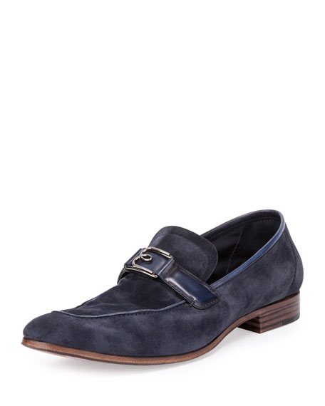 B Volute Suede & Leather Loafer, Navy