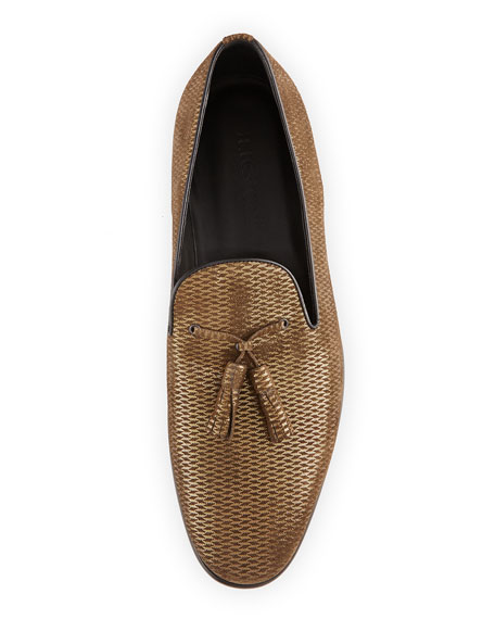 Metallic Leather Tassel Loafer, Gold