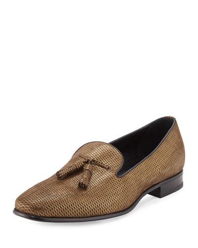 Metallic Leather Tassel Loafer, Gold