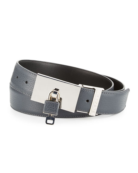 Buscemi Padlock-Buckle Leather Belt, Dark Gray