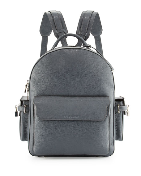 Buscemi PHD Men's Calf Leather Backpack, Dark Gray