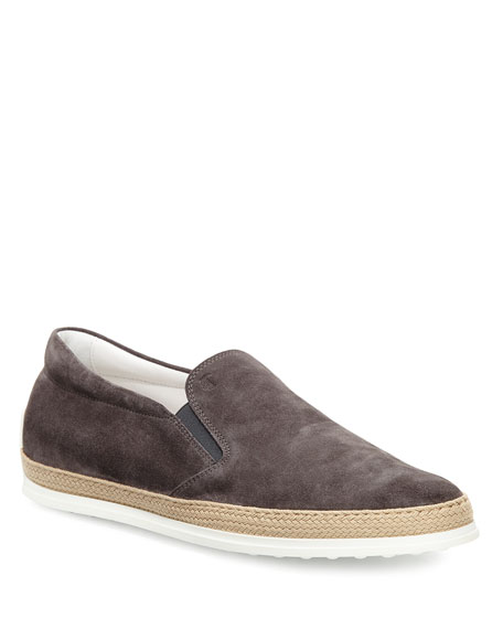 Tod's Suede Espadrille Slip-On Sneaker, Gray