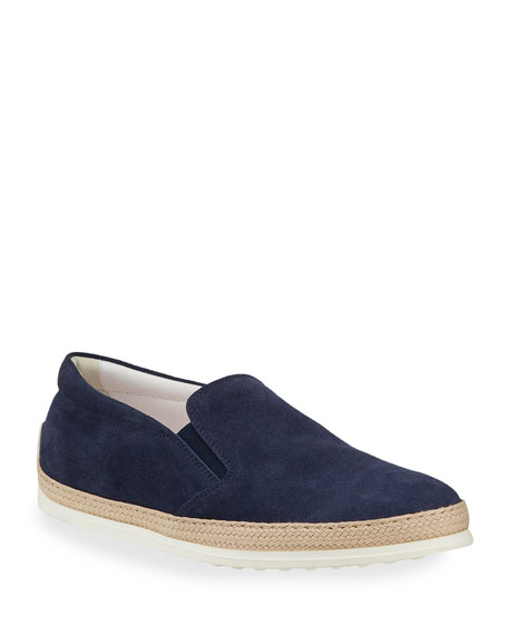 Tod's Suede Espadrille Slip-On Sneaker, Navy
