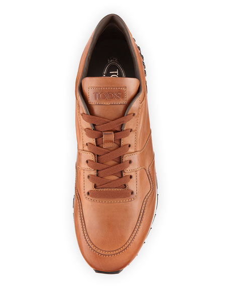Men's Burnished Leather Trainer Sneakers, Cognac
