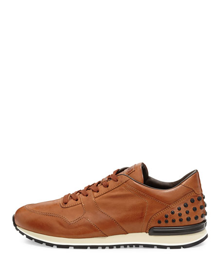 Burnished Leather Trainer Sneaker, Cognac