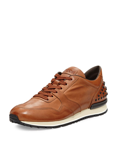Tod's Burnished Leather Trainer Sneaker, Cognac