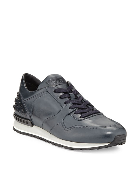 Tod's Burnished Leather Trainer Sneaker, Navy
