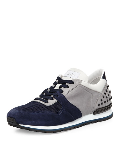 Tod's Colorblock Trainer Sneaker, Navy/Gray