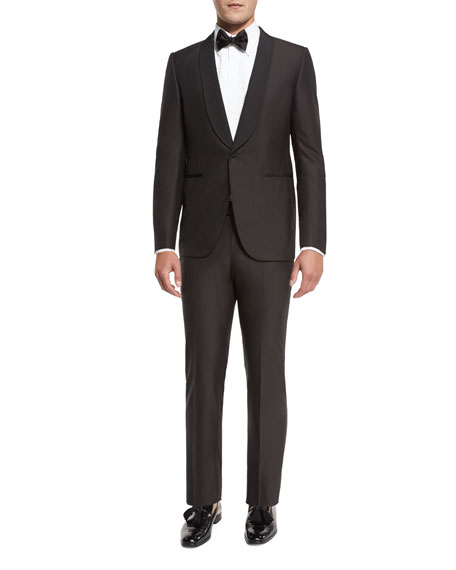Grosgrain-Collar Tuxedo Suit, Brown